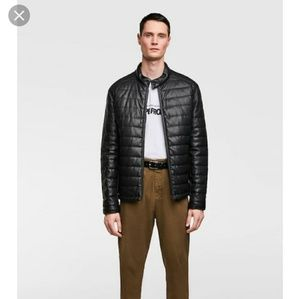 Zara macroperforated puffer faux leather jacket